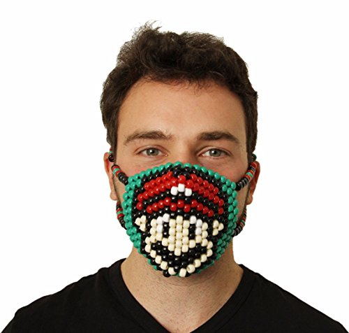 Super Mario Kandi Mask by Kandi Gear, rave mask, halloween mask, beaded mask, bead mask for music fesivals and parties