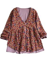 a77c0917a8834 Lazzboy Tops Shirt Women Vintage Boho Ethnic Long Sleeve Floral UK 12-20  Ladies Linen Button Blouse…
