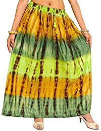 Exotic India Green And Honey Long Skirt With Batik Print