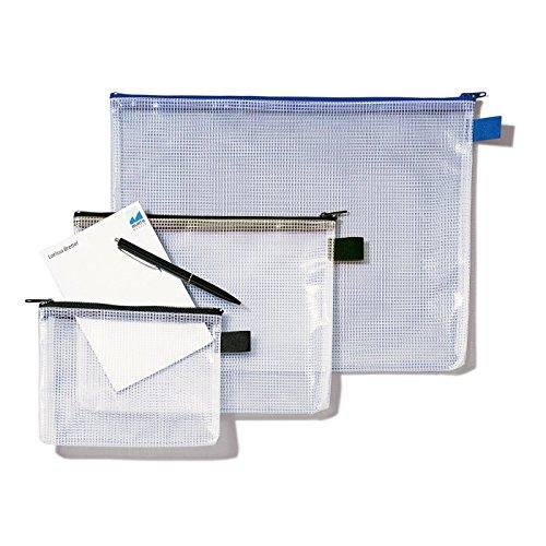 Rexel MeshBag Reissverschlusstasche (A5 , Schwer Entflammbar, Füllvermögen 8 mm) 1 Stück klar/schwarz -