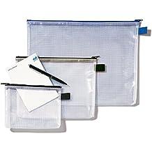 Rexel MeshBag Reissverschlusstasche (A5 , Schwer Entflammbar, Füllvermögen 8 mm) 1 Stück klar/schwarz