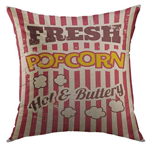 DD Decorative Dekorativer Überwurf-Kissenbezug für Couch Sofa, Gelb, Retro-Stil, mit Popcorn-Kino-Heimdekoration, Kissenbezug, 45,7 x 45,7 cm
