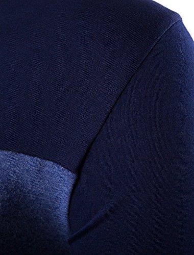 Allegra K Herren V-Ausschnitt langarm Sweatshirt T-Shirt de Blau