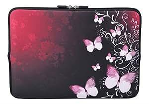 MySleeveDesign Laptoptasche Notebooktasche Sleeve für 10,2 Zoll / 11,6 - 12,1 Zoll / 13,3 Zoll / 14 Zoll / 15,6 Zoll / 17,3 Zoll - Neopren Schutzhülle mit VERSCH. DESIGNS - Butterfly Pink [11-12]