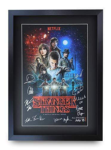 HWC Trading Stranger Things A3 Gerahmte Signiert Gedruckt Autogramme Bild Druck-Fotoanzeige Geschenk Für Tv-Show-Fans -