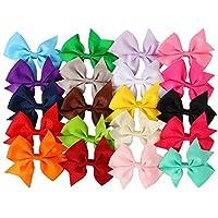 Hilai - Lazos para el pelo con clip de cocodrilo para niñas (20 unidades)
