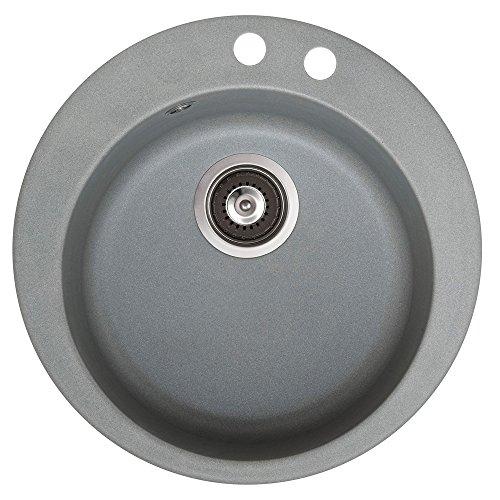 Spüle Granitspüle Küchenspüle Einbauspüle Auflage rund Ø 505 mm Spülbecken + Drehexcenter + Siphon (Grau (202))