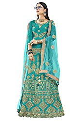 WomenS Sky Blue Color Embroidered Lehenga