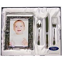 Set de regalo de bautizo con marco de fotos, cuchillo, tenedor y cuchara