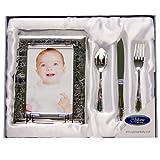 Widdop & Bingham - Set 'Il giorno del mio battesimo', con cornice, coltello, forchetta e cucchiaio