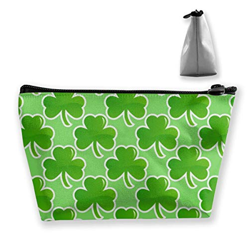 St Patricks Day Clover Shamrock Portable Travel Cosmetic Pouch Storage Makeup Bag Classic Zipper Trapezoid Purse for Women Men Business Travel