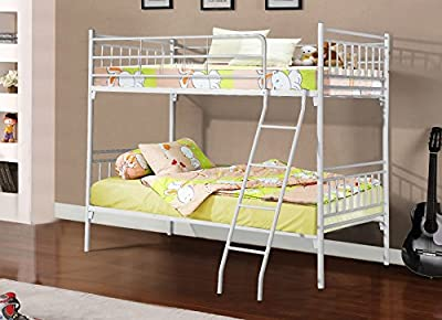 WHITE Metal Frame SINGLE BUNK bed Frame 3ft Designer Stylish Modern !! produced by Isla Rose - quick delivery from UK.