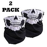 2x Half Face Skull Totenkopf Skelett Maske Multi Verwendung Bandana Schwarz Biker BMX Fahrrad...
