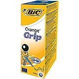 BIC Orange Grip Stylos-Bille Pointe Fine (0,8 mm) - Bleu, Boîte de 20
