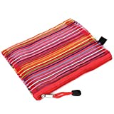 Stripes Zippered papier A5 Fichier Pen Sac Folder Holder Pouch Multicolor