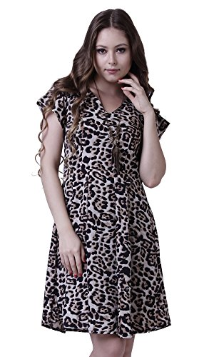 The Gud Look Women\'s Polyester Dress (100000001087-S_Brown_Small)