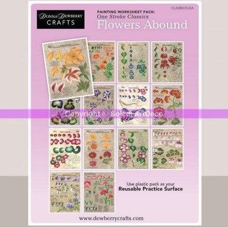 Kit de 14 fiches techniques réutilisables Variété florales de One Stroke
