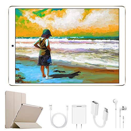tablet con sim telefonica 4G Tablet 10.1 Pollici con Wifi Offerte DUODUOGO Tablet PC Offerte Android 7.0 con Slot per Scheda SIM Doppio 8500mAh Memoria RAM da 2GB+32GB 8MP Camera Quad Core Tablet Sbloccato Bluetooth(Oro)