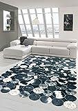 Merinos Kuhfell Teppich Patchwork in Schwarz Grau Weiß Größe 150 cm Rund