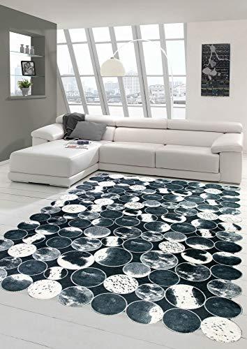 Merinos Kuhfell Teppich Patchwork in Schwarz Grau Weiß Größe 160x230 cm