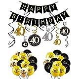 INTVN 40 Ans Femme Homme Anniversaire Décoration kit Noir Or, 40 Anniversaire bannière Drapeaux, Guirlande à Spirales Suspension, Nombre 40 Latex Ballons