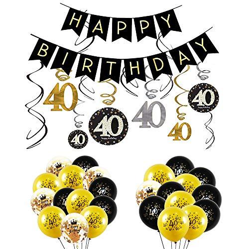 INTVN 40 Decoración Fiestas Cumpleaños Negro Dorado