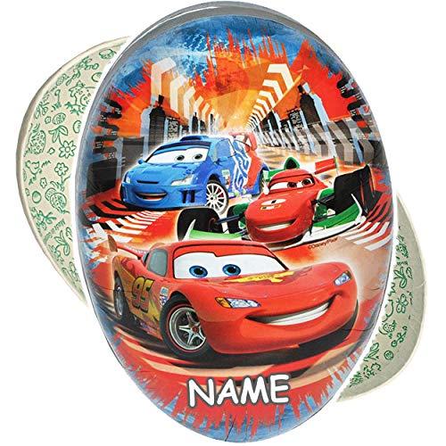 3 TLG. Set: Füll - Papper - 18 cm - Disney - Cars - Auto - Lightning McQueen - inkl. Name - Osterei / Ei zum befüllen - Deko Pappe Papp Pappeier Dekoei Pappos.. ()