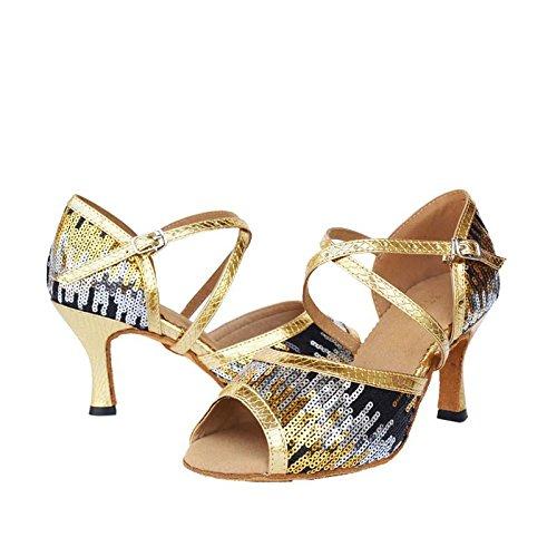 Byjia Scarpe Da Ballo Da Donna Salsa Latin Tango Sandali In Pelle Scamosciata In Pelle Scamosciata Soft Soles Fibbie In Tacco Alto Sequins Flash Gold B