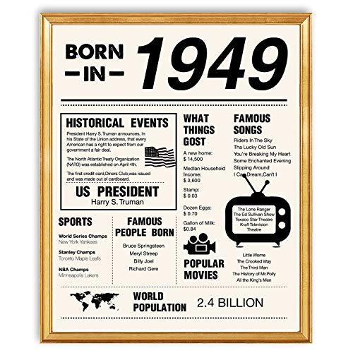 yuzi-n 70. Geburtstag Poster 1949 Schild - 70. Geburtstag Geschenk für Frauen Männer Party-Dekorationen - 8x10 ungerahmt - 70. Geburtstag Ideen