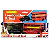 Diecast Genuine London Bus and London Taxi Set (Mini) Souvenir - Moving Wheel Action - Sightseeing - Hop On Hop Off - Toy - 5 Passenger Cab - Hackney Cab - London Souvenir by TB