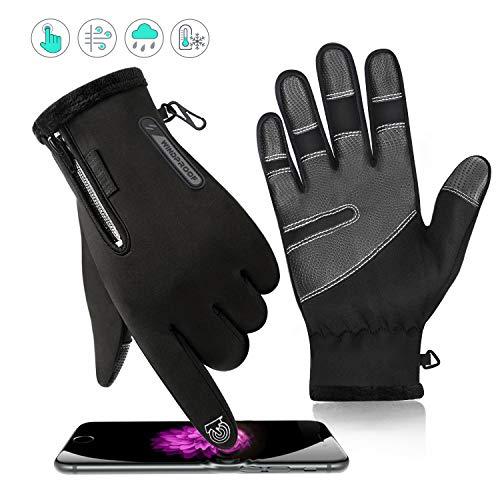 Qhui Handschuhe Herren und Damen, Winter Touchscreen Handschuhe, Wasserdicht Smartphone Winterhandschuhe, Verdicken und Winddicht, für Ski Fahrrad Motorrad Reiten Laufen Sport Radfahren(XL)