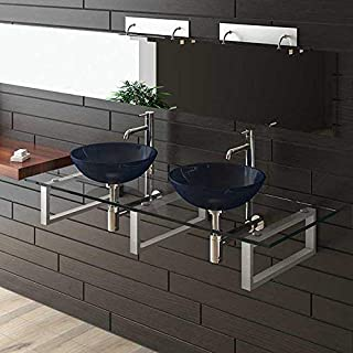 Alpenberger Furniture Glass Bath/Wash Platzl oesung/100Series Double Sink/Alps Berger/Sink/Wash Tables Exclusive for Your Bath/Bathroom/Glass Bowl