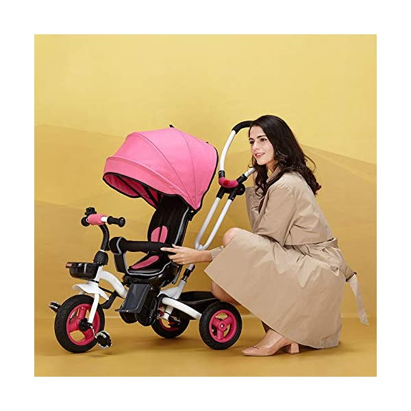 4 In 1 Childrens Folding Tricycle 360° Swivelling Saddle 6 Months To 5 Years 3-Point Safety Belt Kids Tricycle Comfortable And Adjustable Backrest Child Trike Maximum Weight 25 Kg,Pink BGHKFF ★Material: Steel frame, suitable for children from 6 months to 5 years old, the maximum weight is 25 kg ★ 4 in 1 multi-function: can be converted into baby strollers and tricycles. Remove the hand putter and awning, and the guardrail as a tricycle. ★Safety design: Golden triangle structure, safe and stable; front wheel clutch, will not hit the baby's foot; 3 point seat belt + guardrail; rear wheel double brake 1