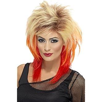 Smiffys Perruque nuque longue des années 80, blonde, avec mèches rouges