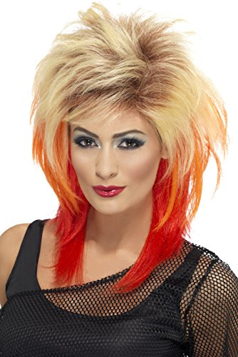 Perücke Fever Blonde Kostüm - Smiffys, Damen 80er Jahre Vokuhila Perücke, One Size, Blond und Rot, 43245