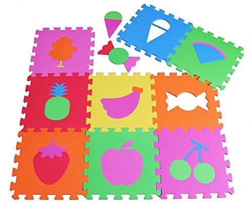 PRINZBERT estera de frutas rompecabezas esteras 9 28 pcs. esponjado de alfombra de juego Juego estera de alfombra antideslizante de aprendizaje de los ni–os creativos Puzzleteppich libre de contaminantes campo de juego learning efecto Caucho del rompecabezas de espuma ABC