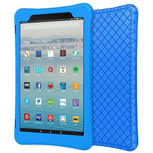 MoKo Hülle Fire HD 10 Tablet (7th Gen.- 2017 Modell) - [Honey Comb Series] Leichte Rutschfeste Stoßfeste Silikon Schutzhülle Protector Case für All-New Amazon Fire HD 10,1 Zoll, Blau