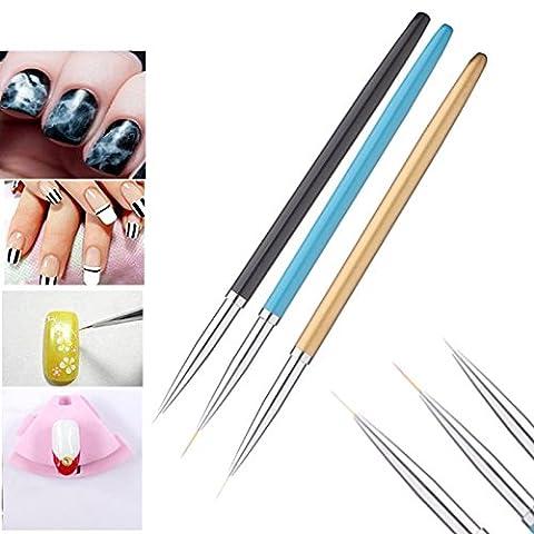 Bluelover 3Pcs Nail Art Paint Pen Set Maniküre Polnisch Gel