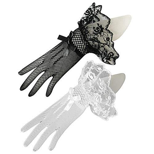 Spitzenhandschuhe Weiß Schwarz Netzhandschuhe Brauthandschuhe Spitze Handschuhe Fingerlos Handschuhe Damen Bogenverzierung Sommer Sonnenschutz Handchuhe für Oper Hochzeit Fest Party Karneval Tanzen - Satin-oper Länge Brauthandschuhe