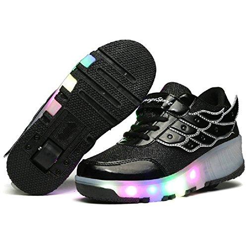 Led Erwachsene Roller Sneaker mit Skate Unisex Lights Boys Rad Schwarz Schuhe Schuhe M盲dchen Sports Wei Skateboard ein qwSPx1RwA