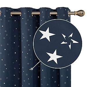 Deconovo Sterne Gardinen Blickdicht Ösen Vorhang Vorhang Wohnzimmer Vorhang 260×140 cm Beige 2er Set