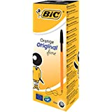 BiC Fine Orange Ball Pen - Black Ink, Pack of 20