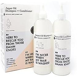 Huile D'argan Shampooing et Après-shampooing Grand 473ml X2 | Huiles de Macadamia et D'argan Jojoba pour Cheveux Secs et Abîmés, Cuir Chevelu Irritant, Pousse des Cheveux, Exempte de Sulfate