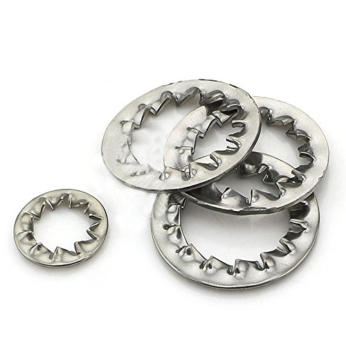 Preisvergleich Produktbild Interne Zahn Star Lock Unterlegscheiben M12\ M14\ M16\ M20Edelstahl Silber Ton 20PCS