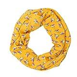 MANUMAR Loop-Schal für Damen   Hals-Tuch in orange mit Vogel Motiv als perfektes Herbst Winter Accessoire   Schlauchschal   Damen-Schal   Rundschal   Geschenkidee für Frauen und Mädchen