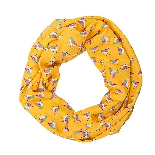 MANUMAR Loop-Schal für Damen | Hals-Tuch in orange mit Vogel Motiv als perfektes Frühling Sommer Accessoire | Schlauchschal | Damen-Schal | Rundschal | Geschenkidee für Frauen und Mädchen