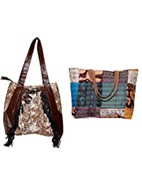 Indiweaves Combo Pack Of 1 Silk Kantha Beach Bags Bag And 1 Cotton Shopper Bag (Pack Of 2) 82100-135275-IW-P2