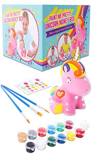 GirlZone Regalos para Niñas | Hucha Unicornio para Pintar | Kit Pintura para Niñas y Accesorios Infantiles - Pinceles, Colores y Gemas | Regalo Original Cumpleaños y Fiestas