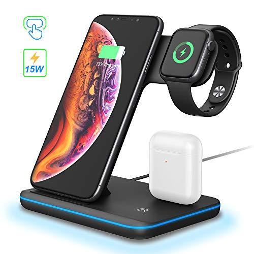 3 in 1 Wireless Charger Ladestation, Qi Kabelloses Ladegerät Ständer Induktive Kompatibel mit Airpods iWatch Series 1/ 2 / 3 / 4 / 5, iPhone 11/ Xs/ Xs Max/ XR/ X/ 8/8 Plus, Samsung S10 S9 S8, Schwarz