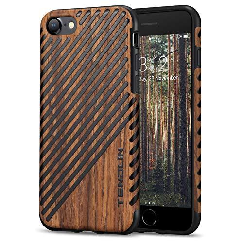 TENDLIN für iPhone 7 Hülle/iPhone 8 Hülle Holz & Leder Flexiblem TPU Silikon Hybrid Weiche Schutzhülle Kompatibel mit iPhone 7 & iPhone 8 (Rotes Sandelholz und Leder)